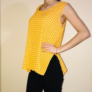 Tops - Vintage 1970s Flowy Checkered Top